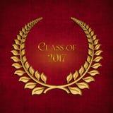 Symbole de laurier d'or pour l'obtention du diplôme 2017 Photos stock