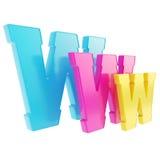 Symbole de lettre de WWW de World Wide Web d'isolement Photos stock
