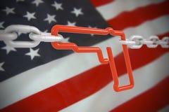 Symbole de lien d'arme à feu verrouillé avec des chaînes en métal Photos stock