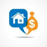 Symbole de maison et de dollar dans la bulle de message Image libre de droits