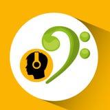 Symbole de musique de écoute de silhouette principale Photo stock