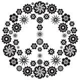 Symbole de paix et d'amour fait de fleurs illustration de vecteur