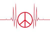 Symbole de paix sur la ligne de battement de coeur Photo stock