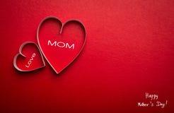 Symbole de papier de forme de coeur pour le jour de mères Photo stock