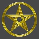 Symbole de pièce de monnaie d'étoile d'isolement par pentagramme d'or Image stock