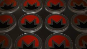 symbole de pièces de monnaie de Monero de Crypto-devise dans la fin brouillée vers le haut de l'animation boucle de la vidéo 4K illustration stock