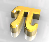 Symbole de pi en or (3d) Photos stock
