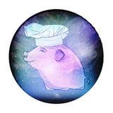 Symbole 2019 de porc Porc mignon dans l'espace illustration stock