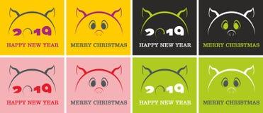 Symbole de porc de vecteur 2019 ans illustration stock