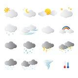 Symbole de prévisions météorologiques à l'arrière-plan blanc Image libre de droits