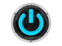 Symbole de puissance de cercle en verre et en métal Photographie stock