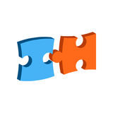 Symbole de puzzle Icône ou logo isométrique plate Photo libre de droits