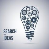 Symbole de recherche d'idée Ampoule avec des roues dentées Image libre de droits