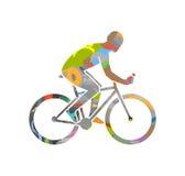 Symbole de recyclage de vecteur et silhouette de cycliste Photographie stock libre de droits