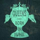 Symbole de reine de vintage Phrase de motivation Image libre de droits