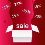 Symbole de remise de vente d'offre spéciale avec les labels ouverts de cadeau et d'écoulement d'isolement sur le fond rouge-clair illustration de vecteur