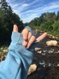 Symbole de rivière et de main Images stock