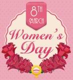 Symbole de roses et de femmes pour commémorer le jour des femmes, illustration de vecteur Photographie stock