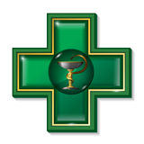 Symbole de serpent de médecine, croix Signe de services de santé, symbole Photo libre de droits