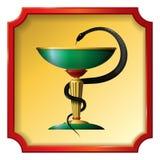Symbole de serpent de médecine Une cuvette de pierre Vecteur illustration libre de droits
