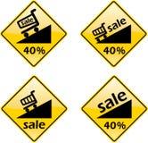 Symbole de signe d'étiquette de pour cent de vente d'escompte Photo libre de droits
