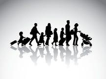 Symbole de silhouette de voyage de famille de personnes illustration libre de droits