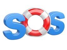 Symbole de SOS avec la bouée de sauvetage Images libres de droits