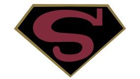 Symbole de Superman S film de frontière de ligue de justice de nouveau photographie stock libre de droits