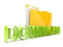 Symbole de téléchargement d'Internet. Dépliant et texte Photographie stock libre de droits