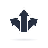 Symbole de trois flèches se dirigeant dans différentes directions Icône bien choisie, le concept de manière Graphisme de vecteur Illustration de Vecteur