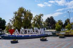 Symbole de ville d'Antalya, j'aime Antalya Photos stock