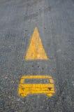 Symbole de voie de tramway sur la route Images libres de droits
