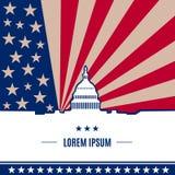 Symbole de Washington DC de vecteur sur le fond de drapeau américain Image libre de droits