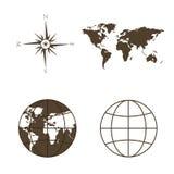 Symbole der globalen Technologie, der internationalen Vereinigungen, der Reise, der Expeditionen und des ect Stockfotos