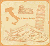 Symbole der Italien-Weinlesekarte Lizenzfreies Stockfoto
