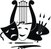 Symbole der Künste, Musik. und Theater stock abbildung
