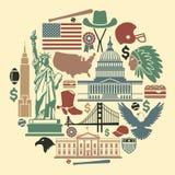Symbole der USA in Form eines Kreises Stockbilder