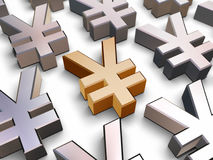 Symbole der Yen 3D Stockbild
