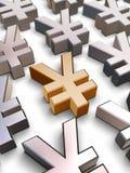 Symbole der Yen 3D Stockfotografie