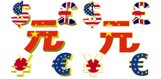 Symbole des Geldes mit Fahnenleuchte Lizenzfreies Stockbild