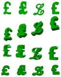 Symbole des Pounds 3D Stockfotografie