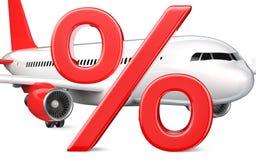 symbole des pour cent 3D ou de la remise avec l'avion commercial, avion de passagers, rendu 3D en gros plan d'isolement sur le bl Illustration Stock