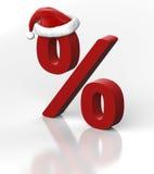 Symbole des pour cent et du chapeau d'une Santa Images stock
