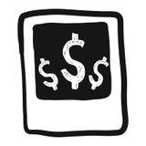 Symbole dollar abstrait de croquis de griffonnage d'aspiration de main sur le cadre polaroïd Image stock