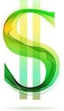 Symbole dollar abstrait vert Image libre de droits