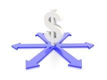 Symbole dollar avec le graphique de concept de flèche Image stock