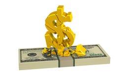 Symbole dollar d'or endommagé Images libres de droits