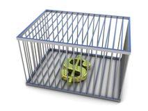 Symbole dollar dans la cage d'or Photographie stock libre de droits