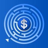 Symbole dollar dans le labyrinthe de cercle Images libres de droits