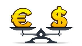Symbole dollar de poids excessif d'euro signe sur le vecteur d'échelles Illustration d'isolement illustration de vecteur